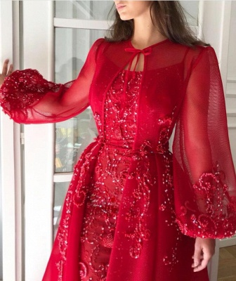 Luxury evening dresses with sleeves | Red evening dress long cheap_3