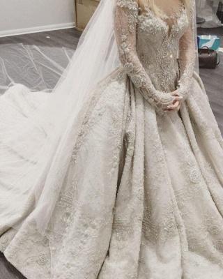 Luxus Brautkleider Mit Ärmel A Linie Hochzeitskleider Spitze Kaufen_5