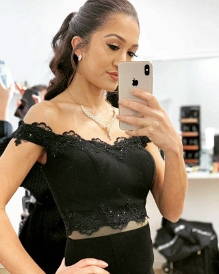 Black Evening Dresses Long | Cheap evening wear in two pieces_2