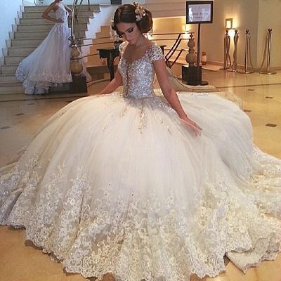 Fashion Prinzessin Weiße Brautkleider Mit Spitze Tüll Hochzeitskleider Günstig_2