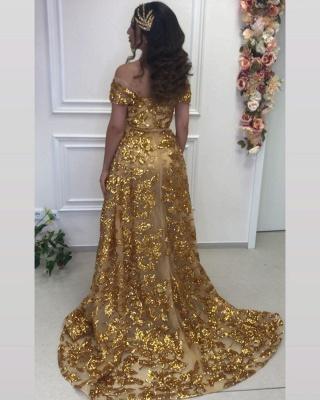 Gold evening dresses luxury | Long glitter prom dresses online_2