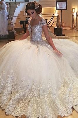 Fashion Prinzessin Weiße Brautkleider Mit Spitze Tüll Hochzeitskleider Günstig_1