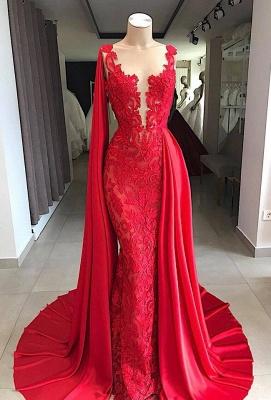 Elegante Abendkleider Lang Spitze | Rote Abendmoden Online Kaufen_1