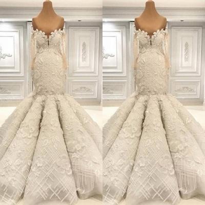 Luxus Hochzeitskleider mit Ärmel | Brautkleid Meerjungfrau Spitze_2