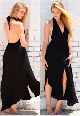 Chiffon Long Evening Dresses Black Cheap Halter Floor Length Prom Dresses_1