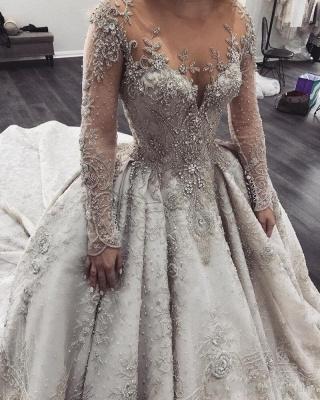 Luxus Brautkleider Mit Ärmel A Linie Hochzeitskleider Spitze Kaufen_3