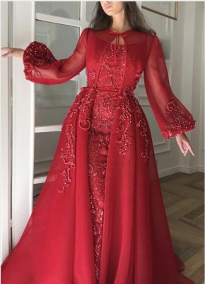 Luxury evening dresses with sleeves | Red evening dress long cheap_2