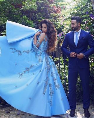 Blue Prom Dress Long Cheap Beaded Satin Evening Dresses Evening Wear_3