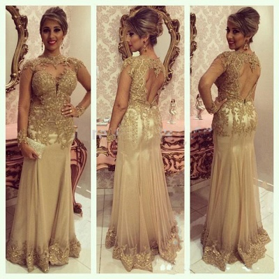 Modern Evening Dresses Long Sleeves Gold Sheath Dresses Prom Dresses Evening Wear_2