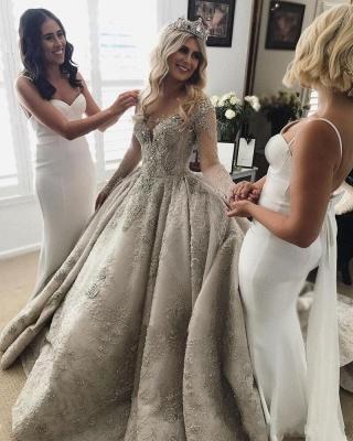 Luxus Brautkleider Mit Ärmel A Linie Hochzeitskleider Spitze Kaufen_2