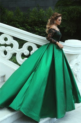 Fashion Evening Dresses Black Long Sleeves A Line Satin Green Evening Wear_3