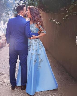 Blaues Abschlussballkleid Lang Günstig Perlen Satin Abendkleider Abendmoden_2
