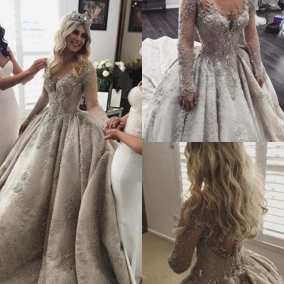 Luxus Brautkleider Mit Ärmel A Linie Hochzeitskleider Spitze Kaufen_4