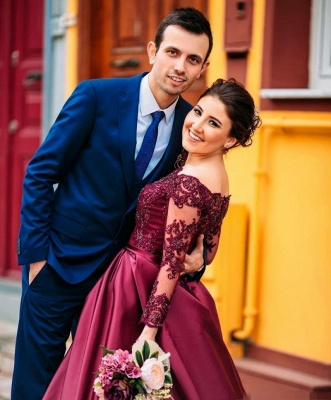 Wine red evening dresses long sleeves with lace satin evening wear prom dresses cheap_2