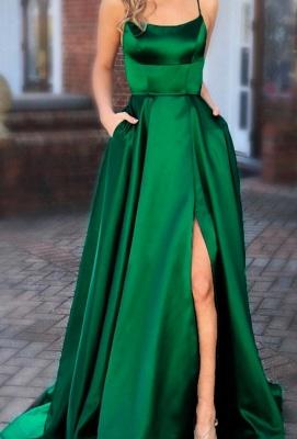 Schlichte Abendkleider Lang Grün | Abiballkleider Unter 100_1