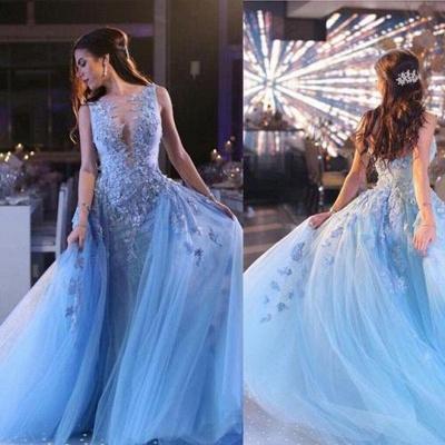 Elegante Blau Long Abendkleider Günstig Mit Spitze Festliche Kleider Online Shop_2