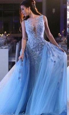 Elegante Blau Long Abendkleider Günstig Mit Spitze Festliche Kleider Online Shop_1
