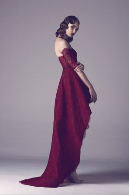 Wine Red Cocktail Dresses Lace With Sleeves Short Long Prom Dresses Party Dresses_3
