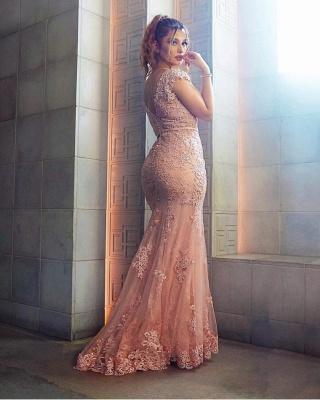 Elegante Rosa Abendkleider Lang Günstig Spitze Bodenlange Abiballkleider Abendmoden_2
