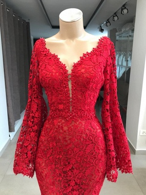 Fashion Evening Dresses Long Red Lace | Evening dress with sleeves_2