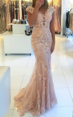 Elegante Rosa Abendkleider Lang Günstig Spitze Bodenlange Abiballkleider Abendmoden_1