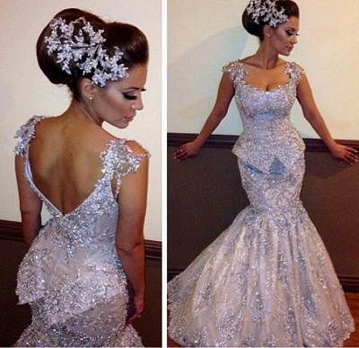 Silver Evening Dress Lace Crystal Mermaid Evening Wear Prom Dresses Cheap_3
