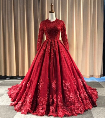 Red Evening Dresses Long Cheap | Lace prom dresses with sleeves_1