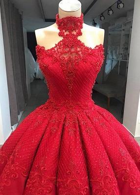 Luxus Abendkleider Lang Rot | Prinzessin Abiballkleider Spitze_3
