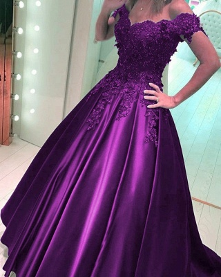 Purple long evening dresses with lace beaded prom dresses cheap online_1