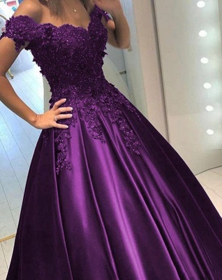 Purple long evening dresses with lace beaded prom dresses cheap online_2