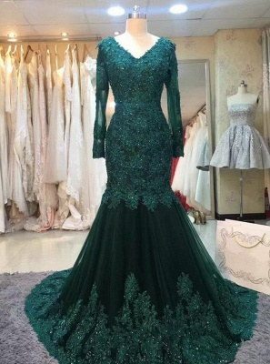 Chic green evening dresses with sleeves lace prom dresses online cheap_1