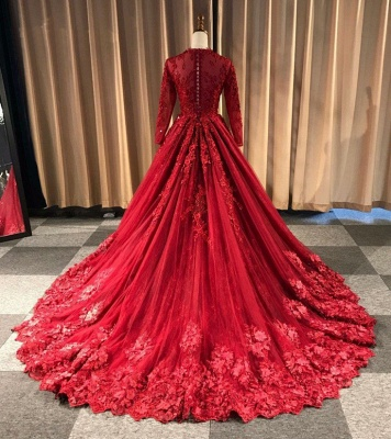 Red Evening Dresses Long Cheap | Lace prom dresses with sleeves_2