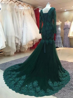 Chic green evening dresses with sleeves lace prom dresses online cheap_2