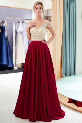 Buy elegant wine red evening dresses long chiffon beaded floor-length evening wear online_3