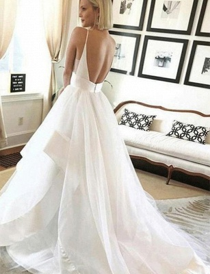Sexy wedding dress with tulle long | Backless Bridal Wedding Dresses Online_2
