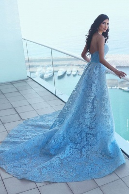 Blue Evening Dresses Long Lace A Line Heart Prom Dresses Prom Dresses_2