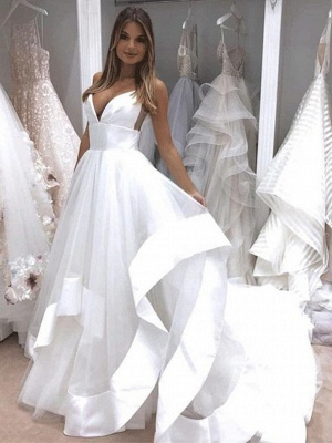 Sexy wedding dress with tulle long | Backless Bridal Wedding Dresses Online_1