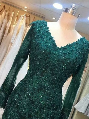 Chic green evening dresses with sleeves lace prom dresses online cheap_3