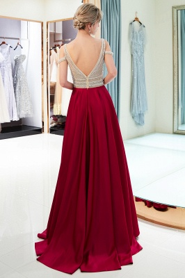 Buy elegant wine red evening dresses long chiffon beaded floor-length evening wear online_5