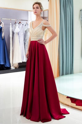 Buy elegant wine red evening dresses long chiffon beaded floor-length evening wear online_4