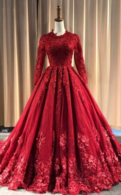 Red Evening Dresses Long Cheap | Lace prom dresses with sleeves_4