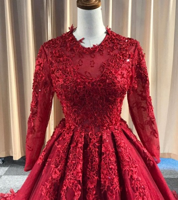 Red Evening Dresses Long Cheap | Lace prom dresses with sleeves_3