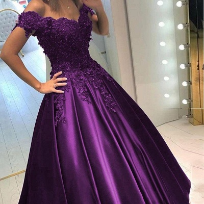 Purple long evening dresses with lace beaded prom dresses cheap online_4
