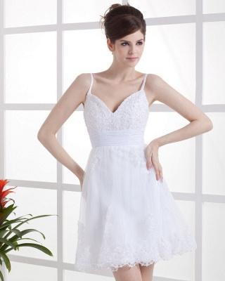 Schöne Weiß Hochzeitskleider Kurz Mit spitze Spaghetti Tüll Brautkleider Hochzeitsmoden_2