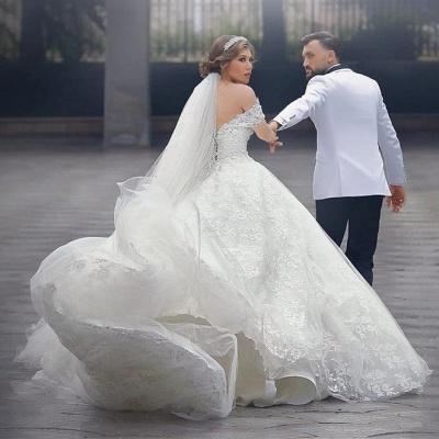 Luxury Wedding Dresses White Lace Princess Wedding Dresses With Train Cheap_3