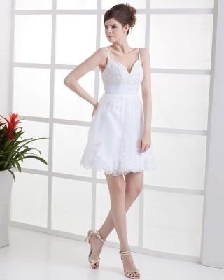 Schöne Weiß Hochzeitskleider Kurz Mit spitze Spaghetti Tüll Brautkleider Hochzeitsmoden_4