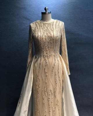 Luxury Evening Dresses Long Champagne | Evening wear evening dress with sleeves_2