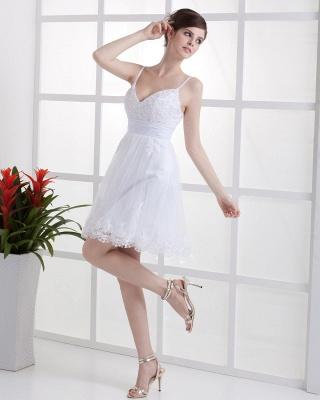 Schöne Weiß Hochzeitskleider Kurz Mit spitze Spaghetti Tüll Brautkleider Hochzeitsmoden_3