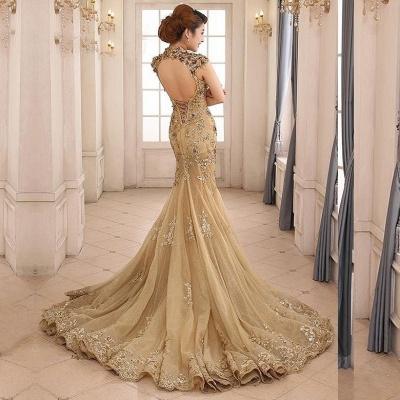 Günstig Abendkleider Gold Glitter | Lange Abiballkleider Spitze Kaufen_3