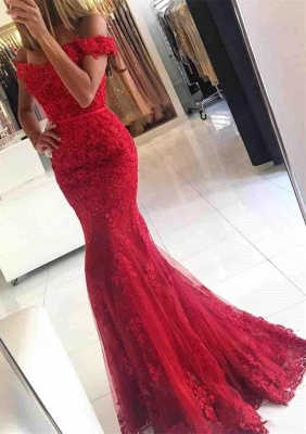 Red Evening Dresses Long Cheap Lace Off Shoulder Mermaid Evening Wear_3